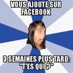 Inconnue sur facebook